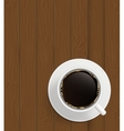 Cup of cofee on boards Background vector image vector image