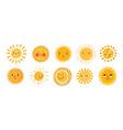 cute sun flat set yellow vector image vector image