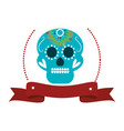 decorative ornamental sugar skull with ribbon vector image vector image