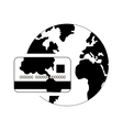 earth globe and credit card icon vector image vector image