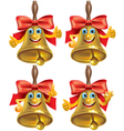 Funny school bell showing different emotions vector image vector image