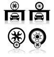 Garage icons vector image vector image