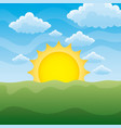 green grass lawn with sunrise on blue sky nature vector image