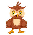 happy owl smiling on white background vector image vector image