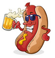 hot dog wearing sunglasses drinking beer vector image