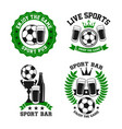 icons for soccer bar or football pub vector image vector image