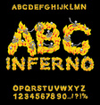 Inferno ABC Hell font Fire letters Sinners in vector image vector image