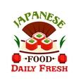 Japanese food Daily fresh sushi maki rolls vector image vector image