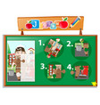 jigsaw puzzle game template with janitor vector image vector image