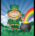 leprechaun pot gold cartoon character vector image