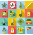 Marijuana icons set flat style vector image vector image