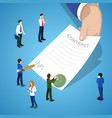 miniature business people signing contract vector image vector image