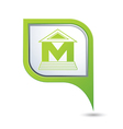 museum icon on green map pointer vector image vector image