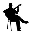 music man sitting and play guitar silhouette vector image vector image