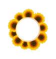 orange yellow sunflower banner wreath vector image