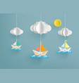paper sailing boat vector image vector image