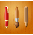 Pen pencil and brush icons vector image vector image
