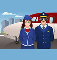 pilot and flight attendant in front of the vector image