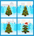pine tree decorated for christmas holidays set vector image