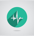 Pulse heart rate white icon in flat style vector image vector image