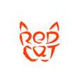 red cat lettering logo cat head drawing letters vector image
