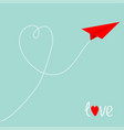 red origami paper plane dash line heart in the vector image vector image