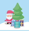 santa claus with christmas tree and gift boxes vector image vector image