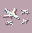 set big and small airplane for transportation by vector image