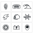 Set of Hydroelectric Station Icons Lamp vector image vector image