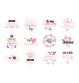 set of valentines day label and badges creative vector image