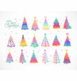 set rainbow christmas tree doodles on white vector image