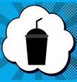 soda sign black icon in bubble on blue vector image