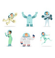 space characters mascots astronauts in cartoon vector image vector image