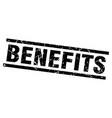 square grunge black benefits stamp vector image vector image