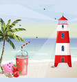 summer seaside with lighthouse red tower symbol vector image vector image
