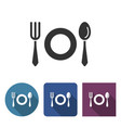 tableware icon in different variants with long vector image
