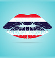 thailand flag lipstick on the lips isolated on a vector image vector image