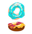 two sweet cartoon icons donut with sprinkles vector image vector image
