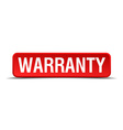 Warranty red 3d square button isolated on white vector image