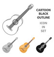 yellow guitar hippy single icon in cartoon style vector image vector image