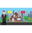 a businessman choose between buy or rent to buy vector image