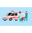 ambulance car with doctor and paramedic staff vector image