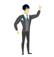 asian groom pointing with his forefinger vector image vector image