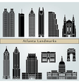 atlanta landmarks and monuments vector image vector image