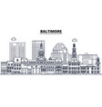 baltimore united states outline travel skyline vector image vector image