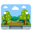 Bench in the park with the lights and trees vector image vector image