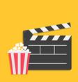 big open clapper board popcorn cinema movie icon vector image