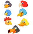 Bird head cartoon collection vector image vector image