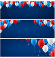 blue banners set with balloons vector image vector image