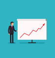 business man holding whiteboard - presentation vector image vector image
